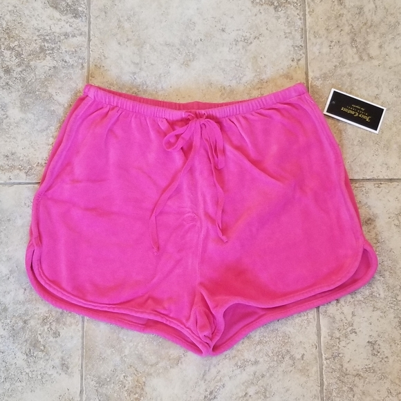 Juicy Couture Pants - NEW JUICY COUTURE BLACK LABEL PINK VELOUR SHORTS